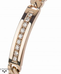 Pre-owned Diamond identity bracelet by Uno-a-erre made of 9-carat yellow gold with 0.8 carats of diamonds