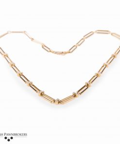 Pre-owned Bespoke link Diamond necklace made of 18-carat yellow gold