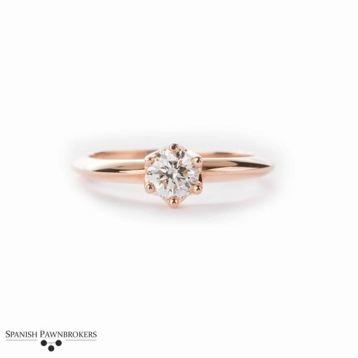Pre-owned ladies Diamond solitaire set with a 0.30 carat round brilliant cut diamond made of 18-carat rose gold