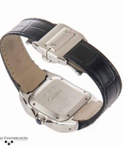pre-owned cartier santos 100 2878 gents watch of stainless steel with a black leather strap