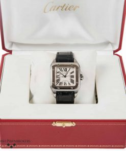 pre-owned cartier santos 100 2878 gents watch of stainless steel with a black leather strap with box