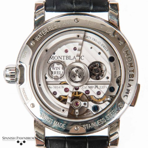 pre-owned Montblanc Nicolas Rieussec 108790 gents watch of stainless steel with a black leather strap