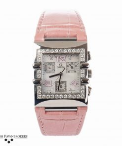 Omega Constellation Quadra de segunda mano 1847.73.31 reloj de mujer engastado con diamantes en una correa de cuero rosa