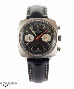 Segunda mano modelo Breitling vintage top time 2211 reloj con esfera negra en correa de piel con hebilla desplegable