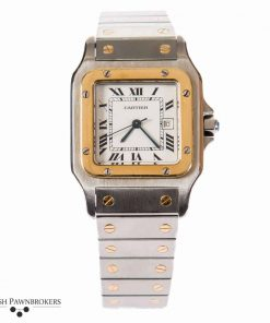 Pre-owned cartier santos vintage model ac 2380 gents watch on a stainless steel with 18-carat yellow gold screws