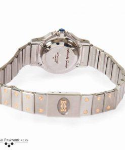 Reloj cartier santos octagon vintage usado para mujer en acero inoxidable con tornillos de oro amarillo de 18 quilates