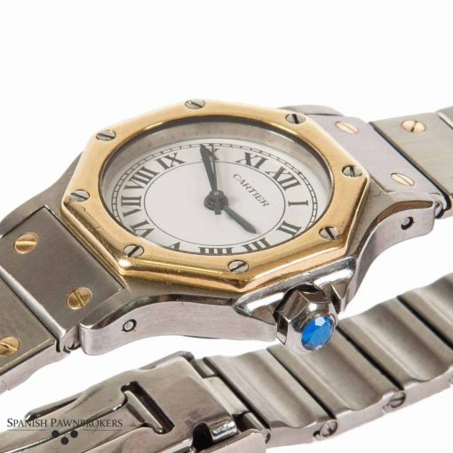 Pre-owned cartier santos octagon vintage ladies watch on a stainless steel with 18-carat yellow gold screws
