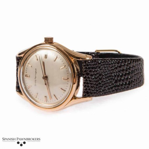 Pre-owned Girard Perregaux Gyromatic 6169 vintage gents watch made of 18-carat yellow gold on lizard skin strap
