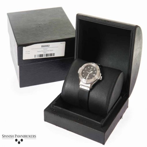 pre-owned hublot super professional 1850.140.1 watch on black rubber strap with box and papers