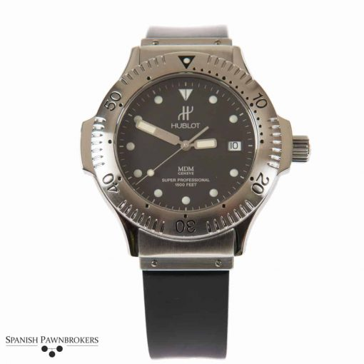 pre-owned hublot super professional 1850.140.1 watch on black rubber strap