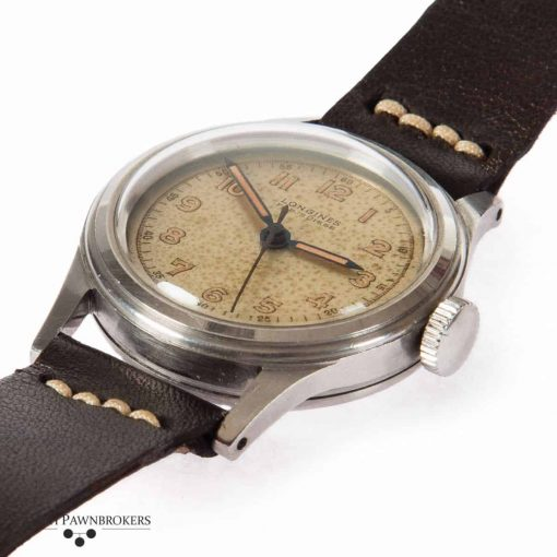 pre-owned vintage french navy longines watch from the 1940s on handmade leather strap with original dial