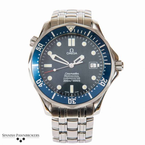 pre-owned Omega Seamaster 300m Professional Chronometer 25318000 stainless steel watch with blue wave dial