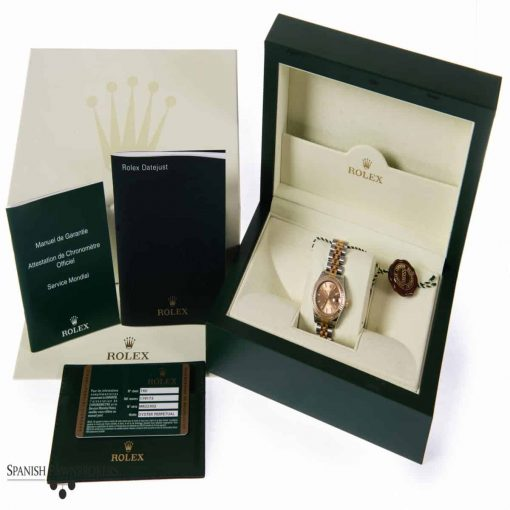 pre-owned rolex datejust 26mm oyster 179173 ladies watch made of stainless steel and yellow gold with box and papers