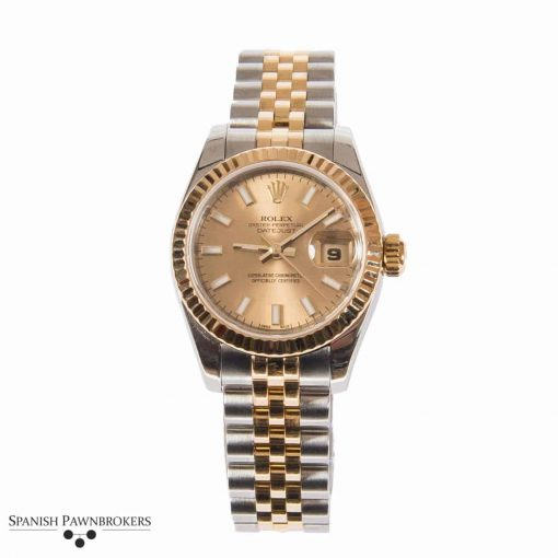 pre-owned rolex datejust 26mm oyster 179173 ladies watch made of stainless steel and 18-carat yellow gold