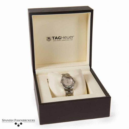 pre-owned tag heuer aquaracer ladies watch made of stainless steel with box