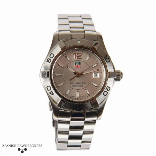 pre-owned tag heuer aquaracer ladies watch made of stainless steel