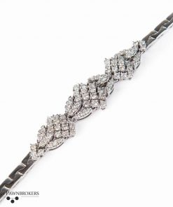 Pre-owned fancy ladies Diamond bracelet made of 14-carat white gold with a total carat weight of 2.34 carats