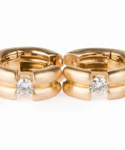 Pre-owned Huggie quarter carat round brilliant Diamonds earrings made of 18-carat yellow gold with a satin finish