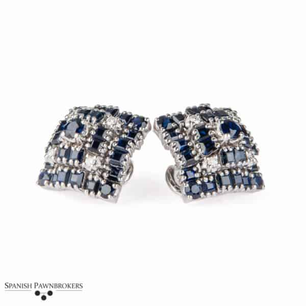 Pre-owned Blue sapphires & Diamond earrings made of 14-carat white gold as clip-on or for pierced ears