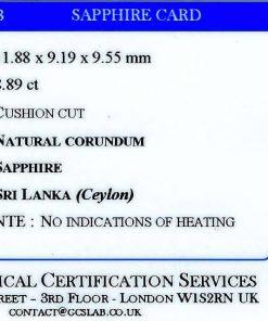 Loose Blue Ceylon Sapphire Sri Lanka Oval faceted certificate GCS unheated 8.89 carats