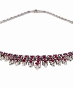 Pre-owned round faceted Rubies & round brilliant cut Diamond necklace made of 14-carat white gold