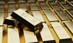 Gold bullion concept about gold value, success and financial