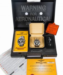 Second hand luxury watch Breitling Emergency Mission A73321 Blue dial box and papers