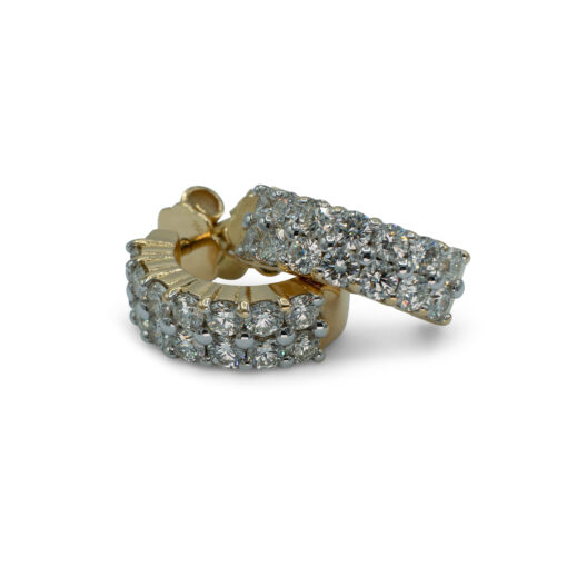 Diamond Pierced Earrings 2 Rows of Diamonds   Pendientes de Diamantes