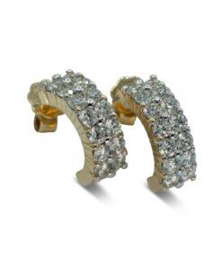 Diamond Pierced Earrings 2 Rows of Diamonds | Pendientes de Diamantes