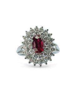 Ruby and Diamond cluster ring - Anillo de Rubi y Diamante