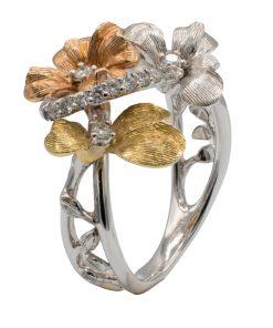 Bespoke flower ring with Diamonds - Anillo de diseño de flores con diamantes